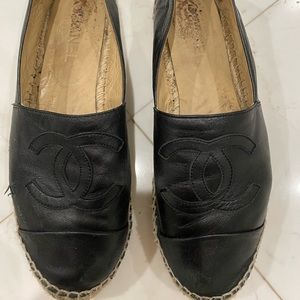 Chanel Espadrilles - Black Leather Sz 41